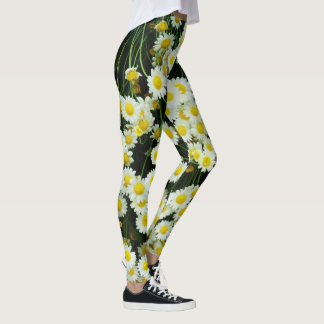 White And Yellow Daisy Buttons Leggings