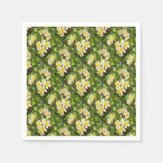 White and Yellow Frangipani Flowers with Leaves Paper Napkins