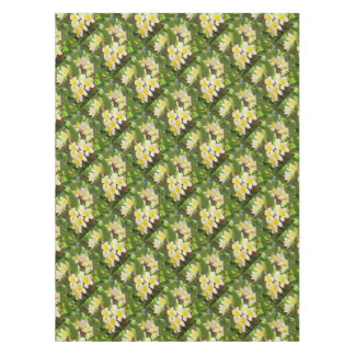 White and Yellow Frangipani Flowers with Leaves Tablecloth