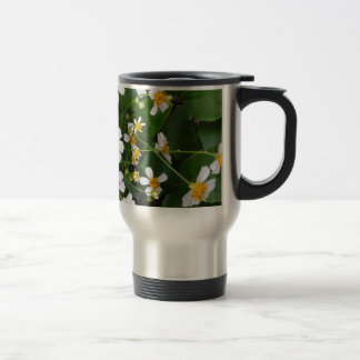WHITE AND YELLOW LITTLE FLOWERS TRAVEL MUG