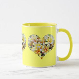 White and Yellow Plumeria Hearts on Yellow Mug