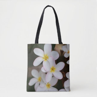 White and Yellow Plumeria Tote