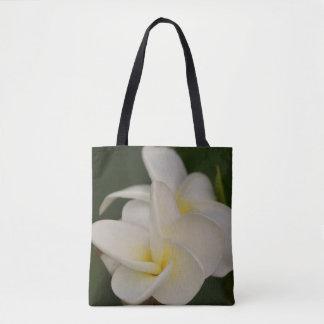 White and Yellow Plumeria Tote Bag