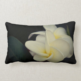 White and Yellow Plumerias Lumbar Pillow