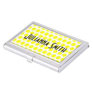 White and Yellow Polka Dots Business Card Holder
