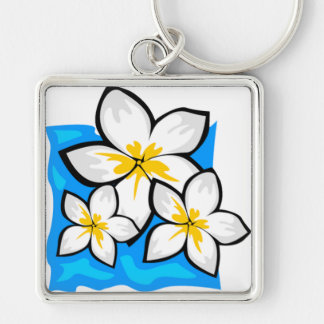 White and yellow tropical flowers keychain
