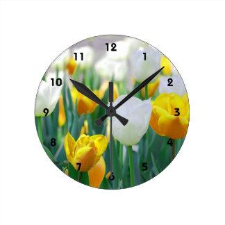 White and Yellow Tulip Flower Wall Clock
