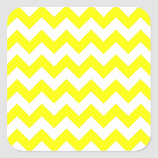 White and Yellow Zigzag Pattern Square Sticker