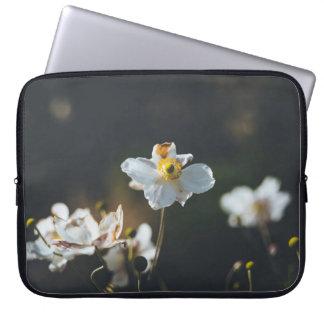White anemone flowers laptop sleeve