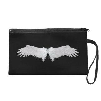 White Angels Wings Satin Clutch Bag Wristlet