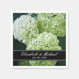 White Annabelle Hydrangeas Wedding Personalized Paper Napkins
