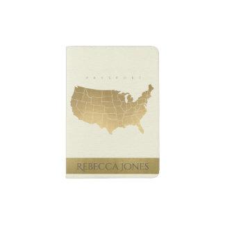 WHITE ANTIQUE GOLD USA MAP LEATHER MONOGRAM PASSPORT HOLDER