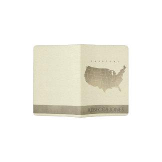 WHITE ANTIQUE SILVER USA MAP LEATHER MONOGRAM PASSPORT HOLDER