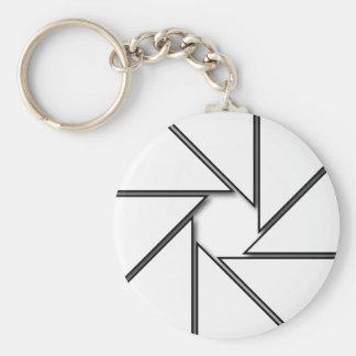 White Aperture Blades Basic Round Button Keychain