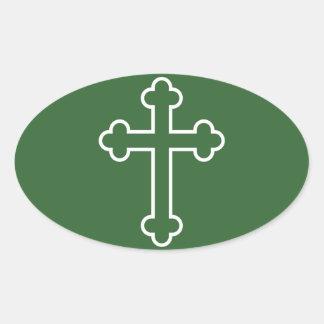 white apostles cross or budded cross oval sticker
