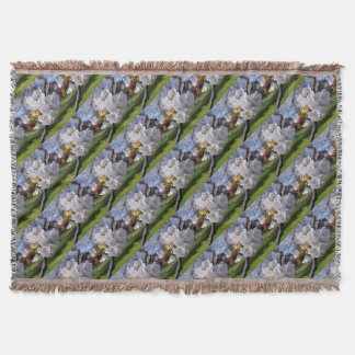 White apple blossoms in spring throw blanket
