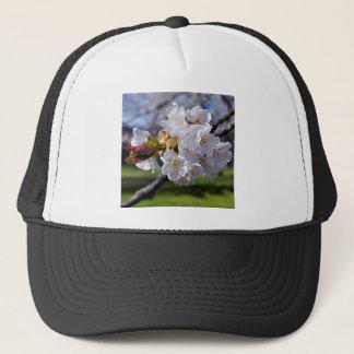 White apple blossoms in spring trucker hat