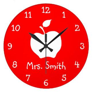 White Apple Large Clock