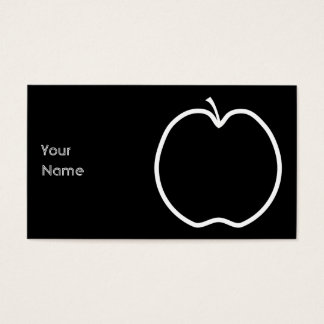 White Apple Outline. Business Card