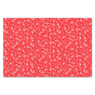 White Apple Pattern on Red Tissue Paper