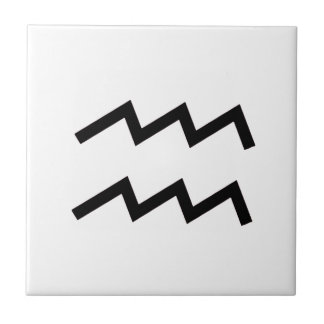 White Aquarius 2 Zodiac January 20 - February 18 Tiles