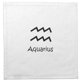 White Aquarius Zodiac January 20 - February 18 Printed Napkins