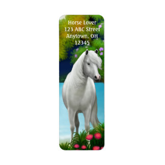 White Arabian Horse Label Return Address Label