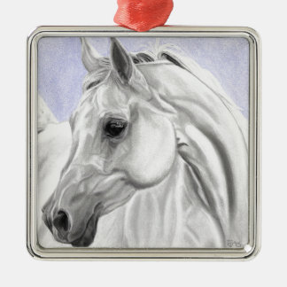 White Arabian Horse Original Art Metal Ornament