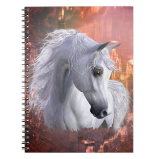 White Arabian Horse Photo Notebook (80 Pages B&W)