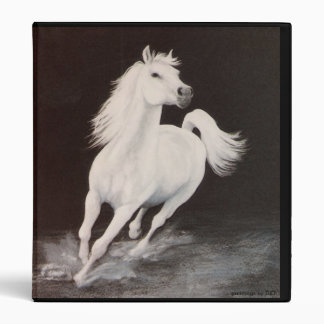 White Arabian Stallion 3 Ring Binders