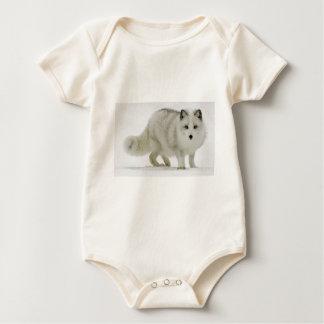 White Arctic Fox Blends Into The Snow Baby Bodysuit