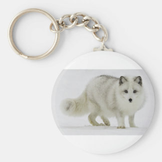 White Arctic Fox Blends Into The Snow Keychain
