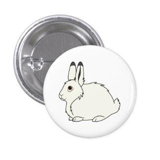 White Arctic Hare 1 Inch Round Button