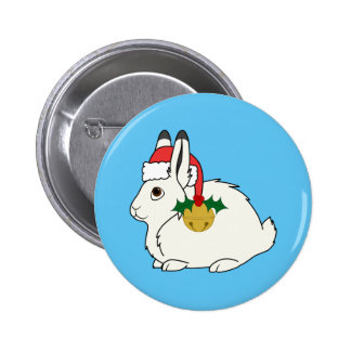 White Arctic Hare with Santa Hat & Gold Bell 2 Inch Round Button