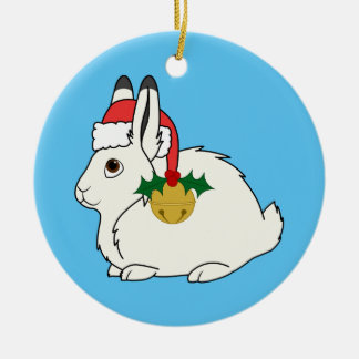 White Arctic Hare with Santa Hat & Gold Bell Round Ceramic Ornament