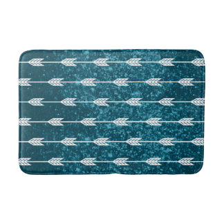 White Arrows on Teal Texture Background Bath Mat