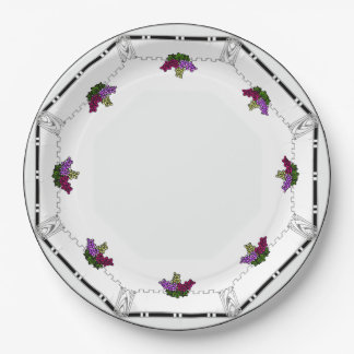 White Art Deco -Black, Silver,Violet Grapes Border Paper Plate