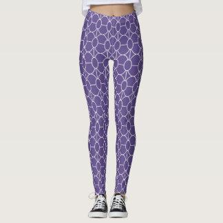 White art deco circles pattern on ultra violet leggings