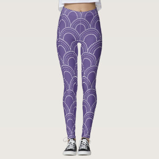 White art deco dots pattern on ultra violet leggings