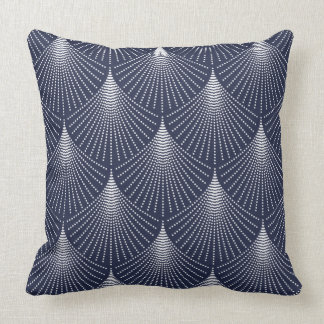 White Art-deco Geometric Pattern On Blue Throw Pillow