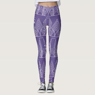 White art deco geometric pattern on ultra violet leggings