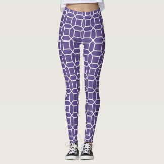 White art deco octagon pattern on ultra violet leggings