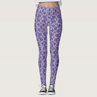 White art deco pattern on ultra violet leggings