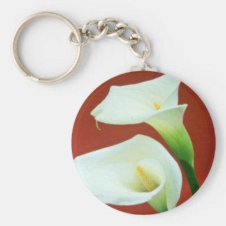 white Arum lily flowers Keychain