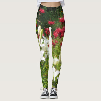 White Asiatic Lilies Red Bee Balm Leggings