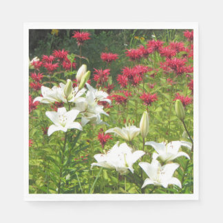White Asiatic Lily Red Bee Balm Paper Napkin