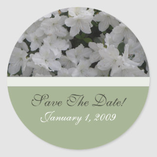 White Azaleas Save The Date Sticker