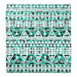 White Aztec on Black and Teal Cheetah Bandana