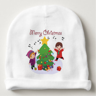 WHITE BABY BEANIE : MERRY CHRISTMAS