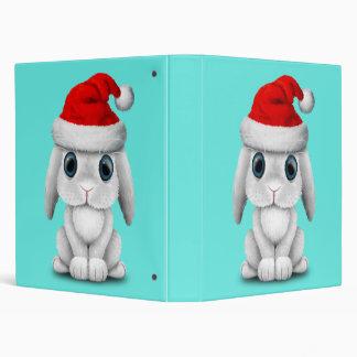 White Baby Bunny Wearing a Santa Hat 3 Ring Binders